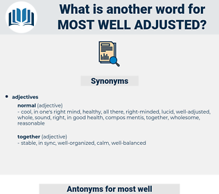 most well adjusted, synonym most well adjusted, another word for most well adjusted, words like most well adjusted, thesaurus most well adjusted