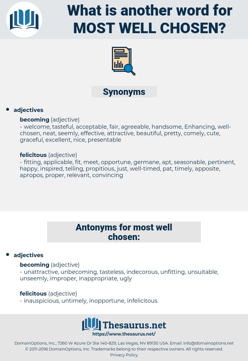 most well chosen, synonym most well chosen, another word for most well chosen, words like most well chosen, thesaurus most well chosen
