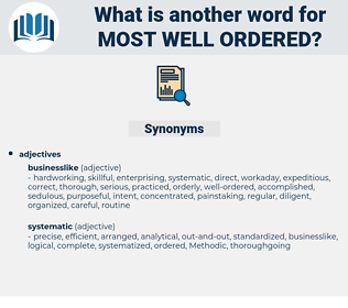 most well-ordered, synonym most well-ordered, another word for most well-ordered, words like most well-ordered, thesaurus most well-ordered