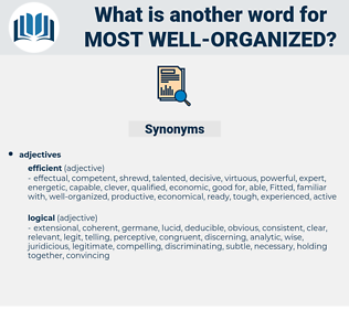 most well-organized, synonym most well-organized, another word for most well-organized, words like most well-organized, thesaurus most well-organized