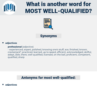 most well qualified, synonym most well qualified, another word for most well qualified, words like most well qualified, thesaurus most well qualified