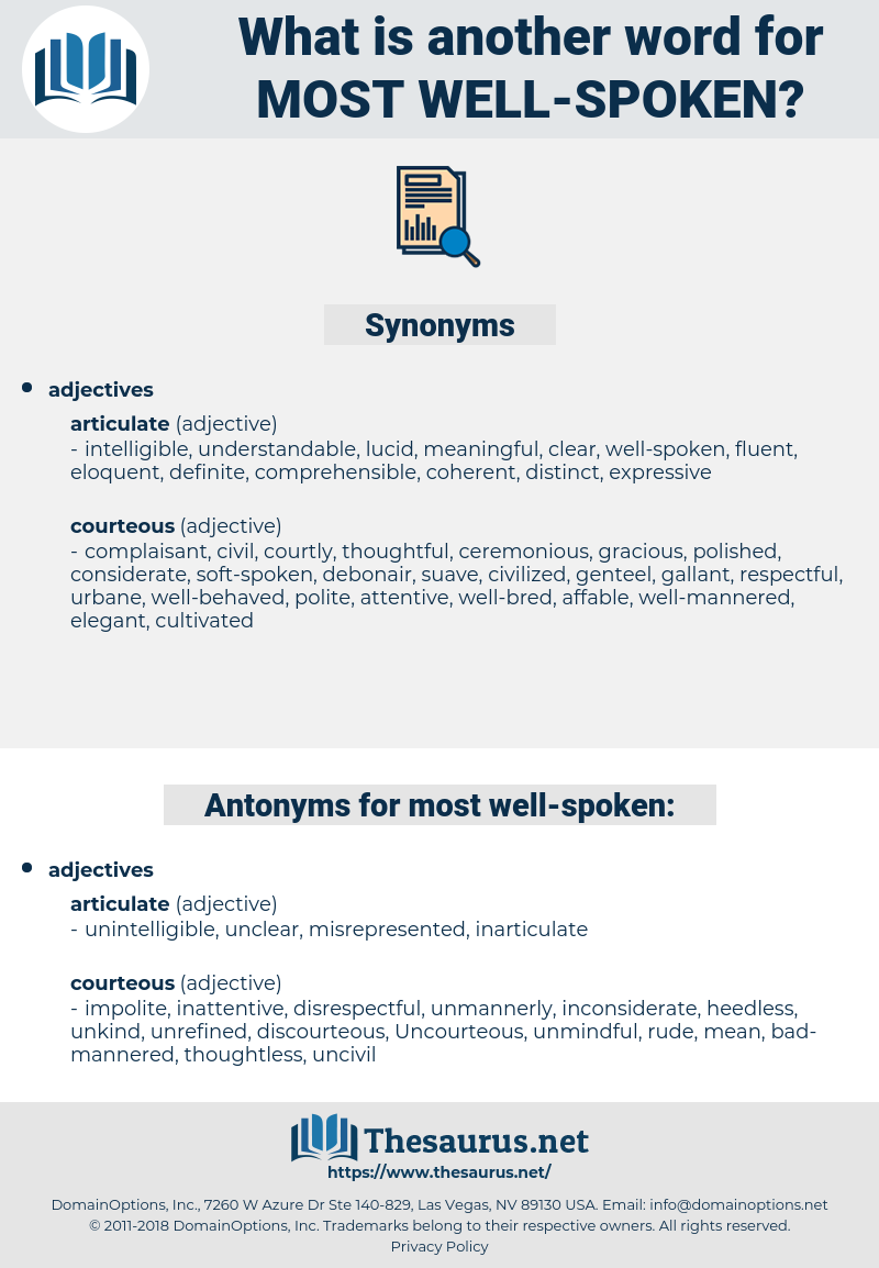 most well-spoken, synonym most well-spoken, another word for most well-spoken, words like most well-spoken, thesaurus most well-spoken