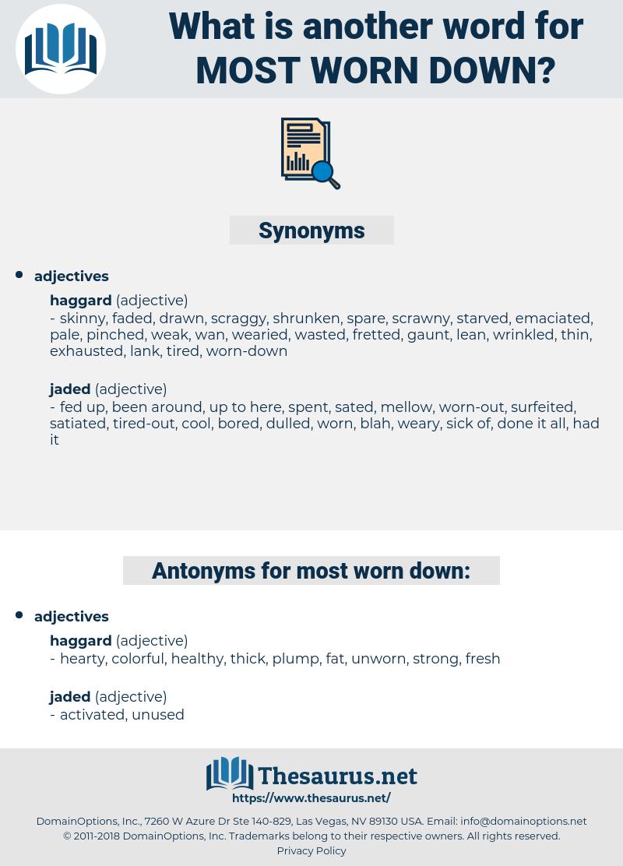 most worn-down, synonym most worn-down, another word for most worn-down, words like most worn-down, thesaurus most worn-down