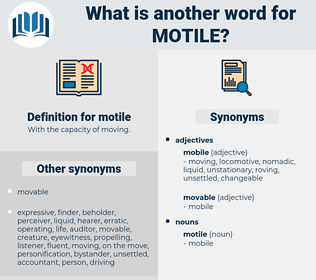 motile, synonym motile, another word for motile, words like motile, thesaurus motile