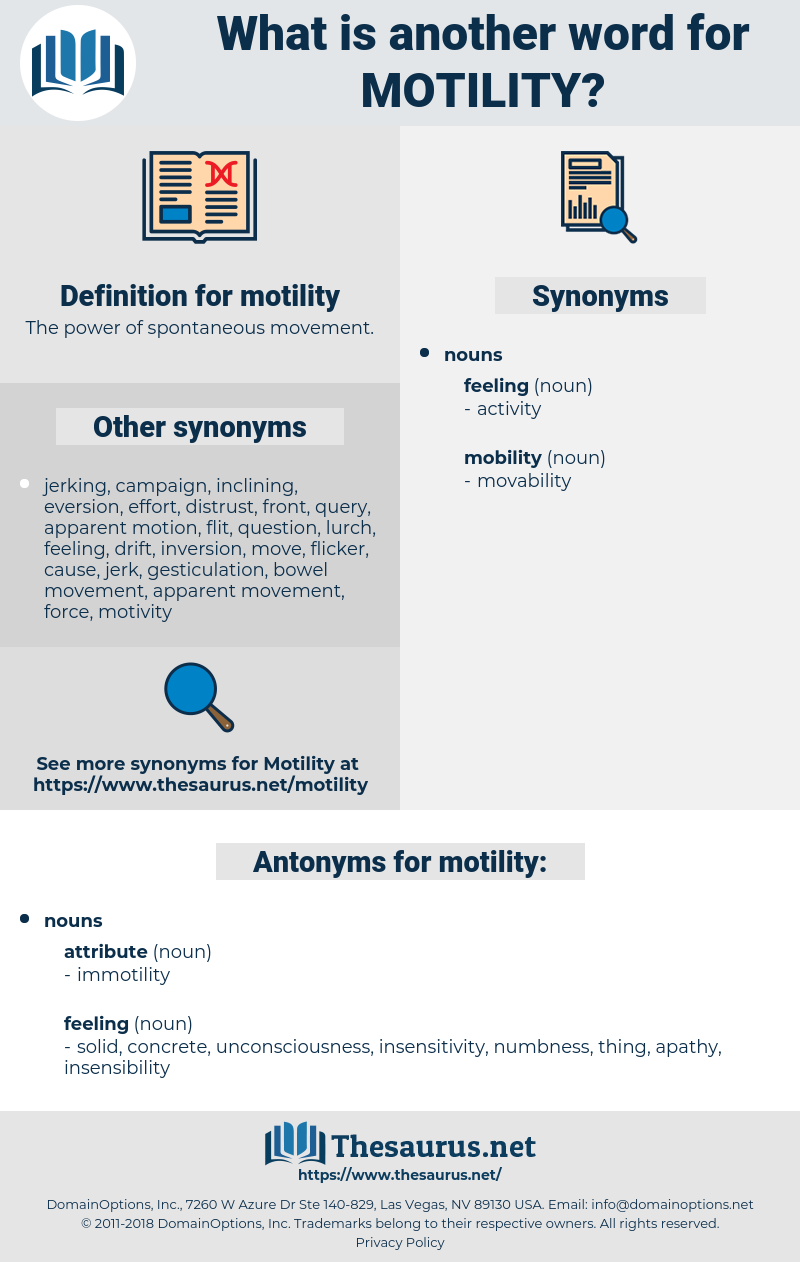 motility, synonym motility, another word for motility, words like motility, thesaurus motility