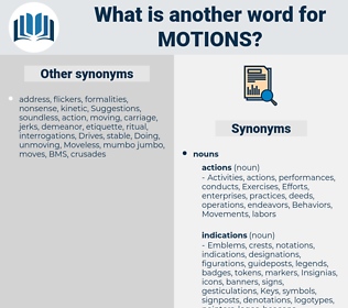 Motions, synonym Motions, another word for Motions, words like Motions, thesaurus Motions
