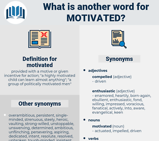 motivated, synonym motivated, another word for motivated, words like motivated, thesaurus motivated