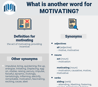 motivating, synonym motivating, another word for motivating, words like motivating, thesaurus motivating