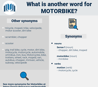 motorbike, synonym motorbike, another word for motorbike, words like motorbike, thesaurus motorbike