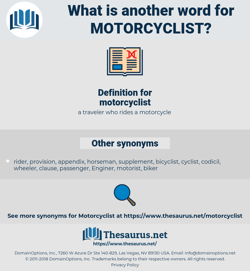 Synonyms for MOTORCYCLIST - Thesaurus net