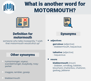 motormouth, synonym motormouth, another word for motormouth, words like motormouth, thesaurus motormouth