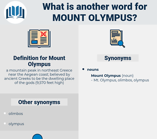 Mount Olympus, synonym Mount Olympus, another word for Mount Olympus, words like Mount Olympus, thesaurus Mount Olympus