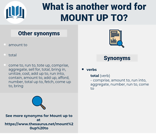 mount up to, synonym mount up to, another word for mount up to, words like mount up to, thesaurus mount up to