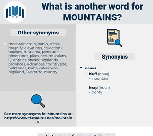 mountains, synonym mountains, another word for mountains, words like mountains, thesaurus mountains