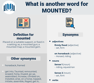 mounted, synonym mounted, another word for mounted, words like mounted, thesaurus mounted