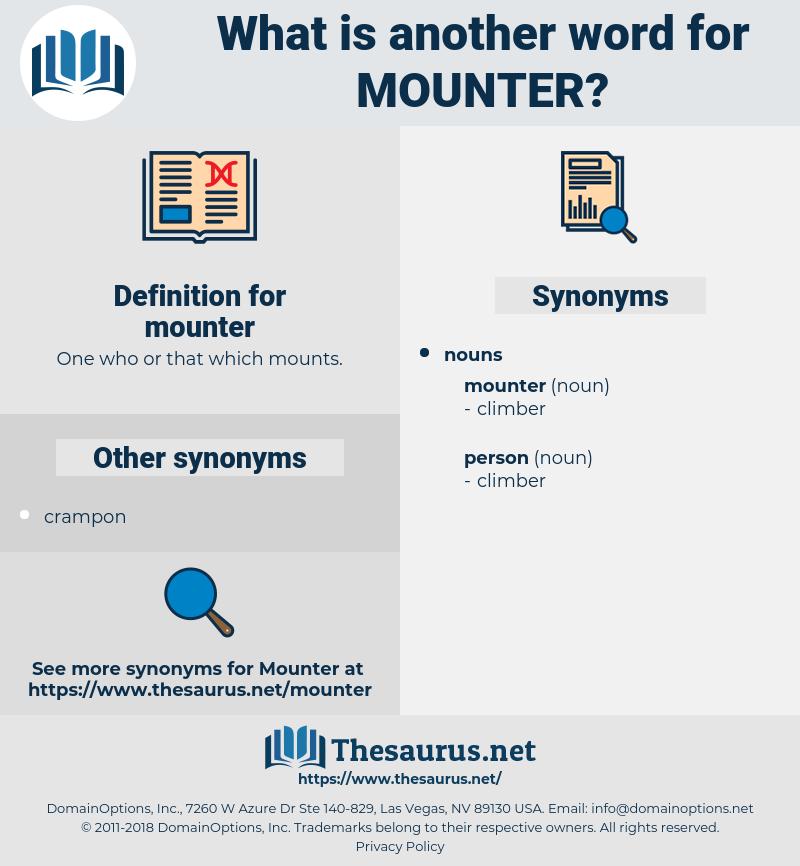 mounter, synonym mounter, another word for mounter, words like mounter, thesaurus mounter