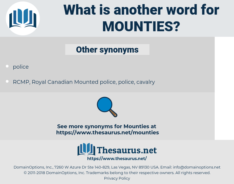 Mounties, synonym Mounties, another word for Mounties, words like Mounties, thesaurus Mounties