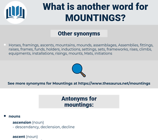 mountings, synonym mountings, another word for mountings, words like mountings, thesaurus mountings