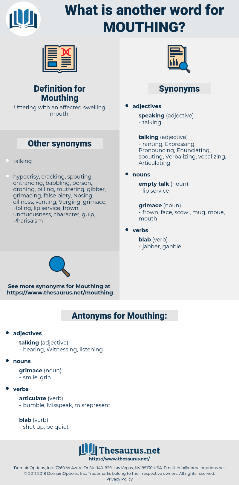 Mouthing, synonym Mouthing, another word for Mouthing, words like Mouthing, thesaurus Mouthing