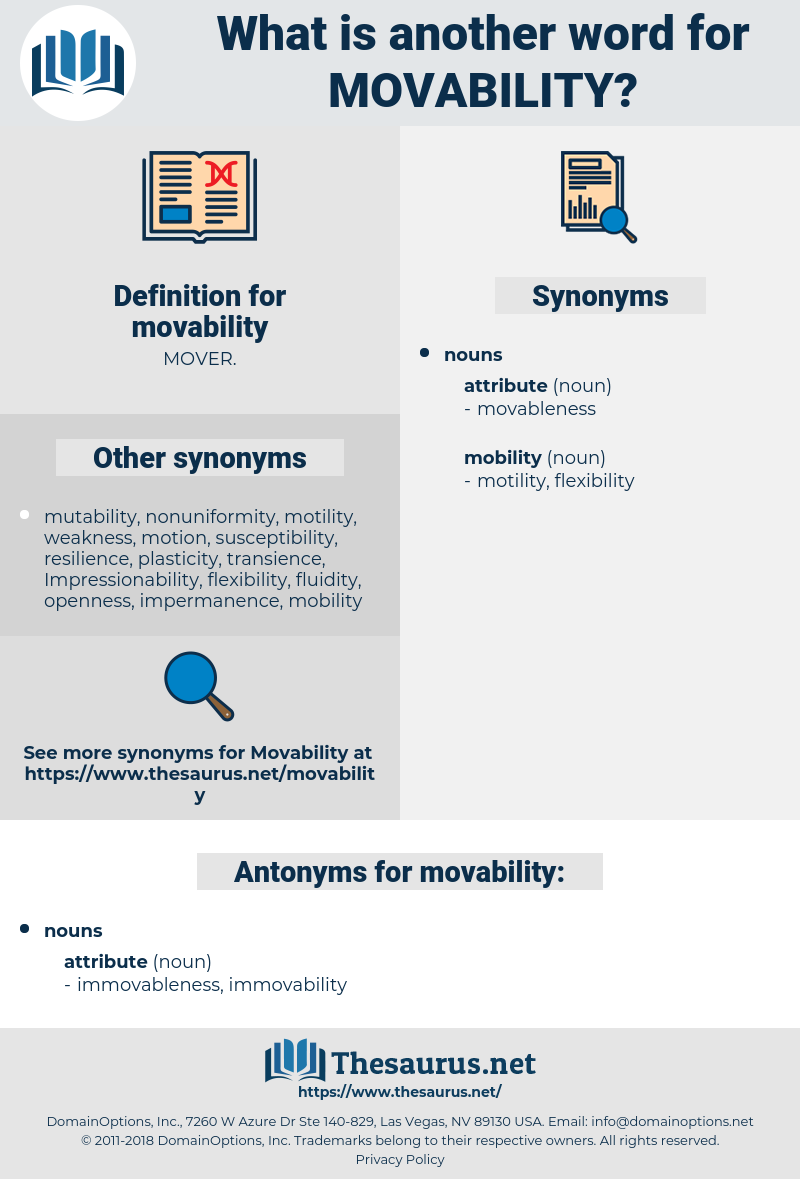 movability, synonym movability, another word for movability, words like movability, thesaurus movability