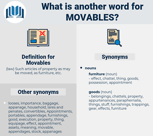 Movables, synonym Movables, another word for Movables, words like Movables, thesaurus Movables