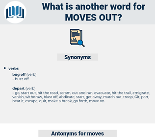 moves out, synonym moves out, another word for moves out, words like moves out, thesaurus moves out