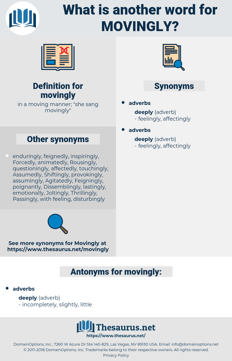 movingly, synonym movingly, another word for movingly, words like movingly, thesaurus movingly