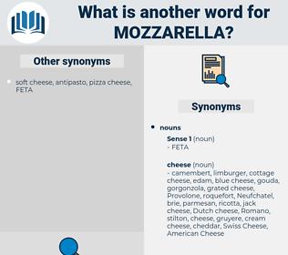 mozzarella, synonym mozzarella, another word for mozzarella, words like mozzarella, thesaurus mozzarella