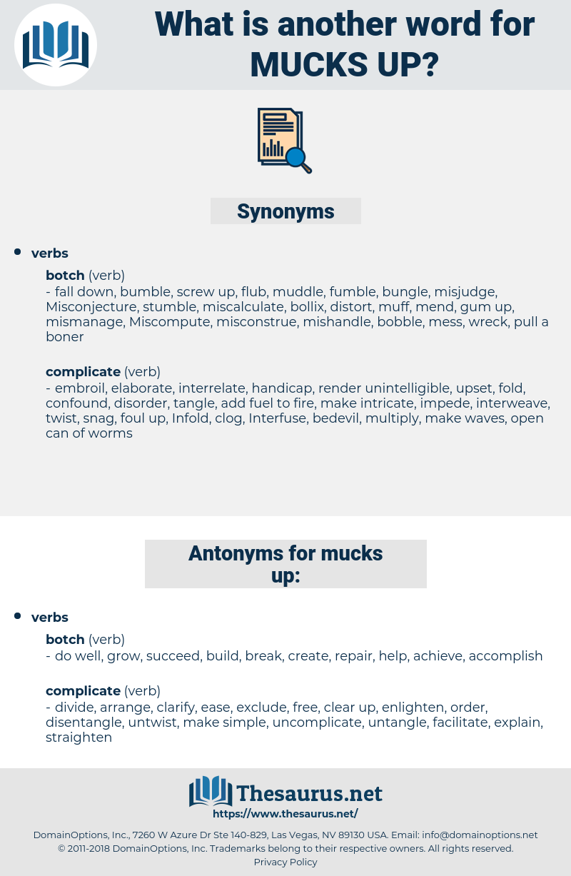 mucks up, synonym mucks up, another word for mucks up, words like mucks up, thesaurus mucks up