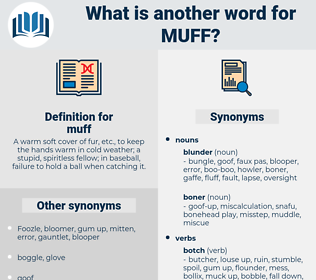muff, synonym muff, another word for muff, words like muff, thesaurus muff