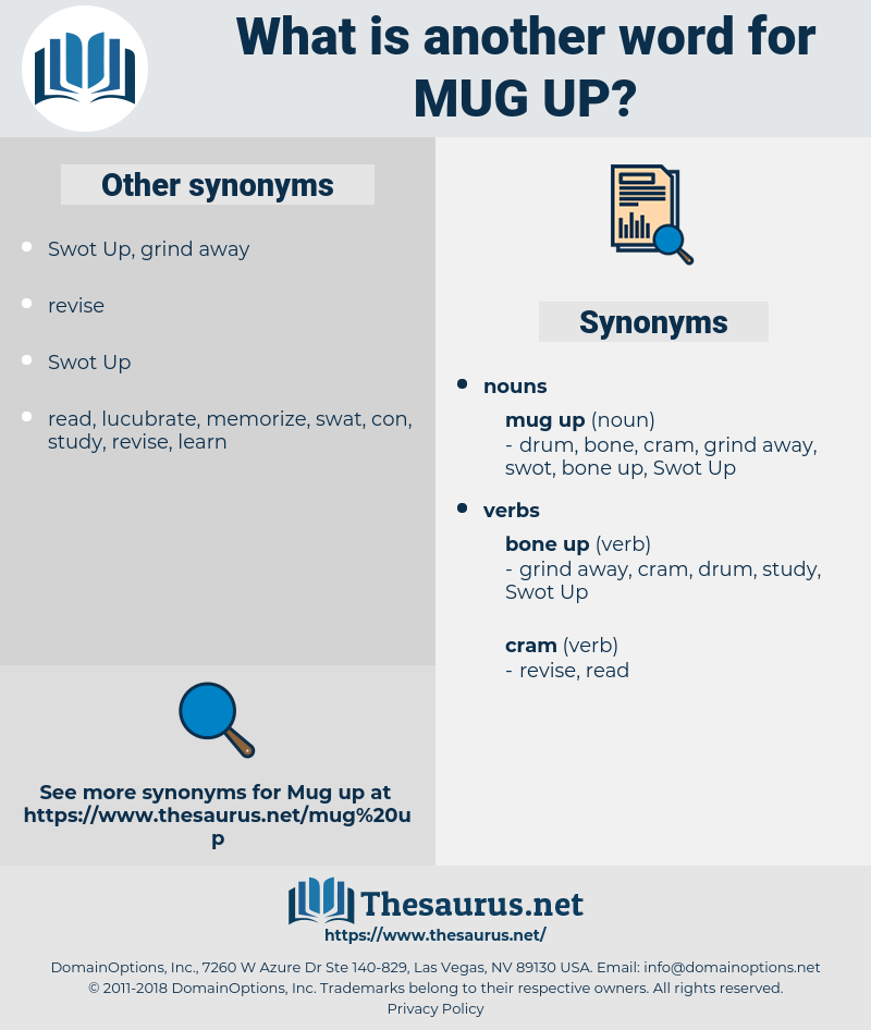 mug up, synonym mug up, another word for mug up, words like mug up, thesaurus mug up