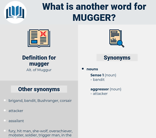 mugger, synonym mugger, another word for mugger, words like mugger, thesaurus mugger