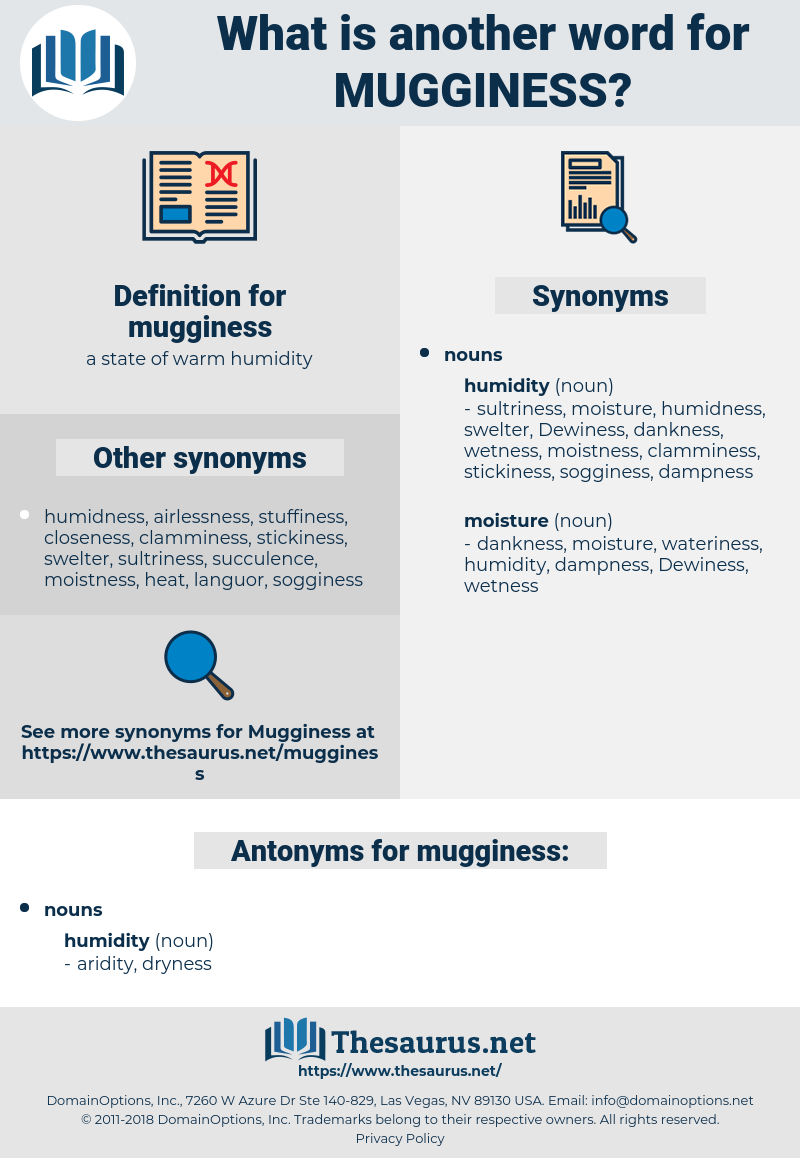 mugginess, synonym mugginess, another word for mugginess, words like mugginess, thesaurus mugginess