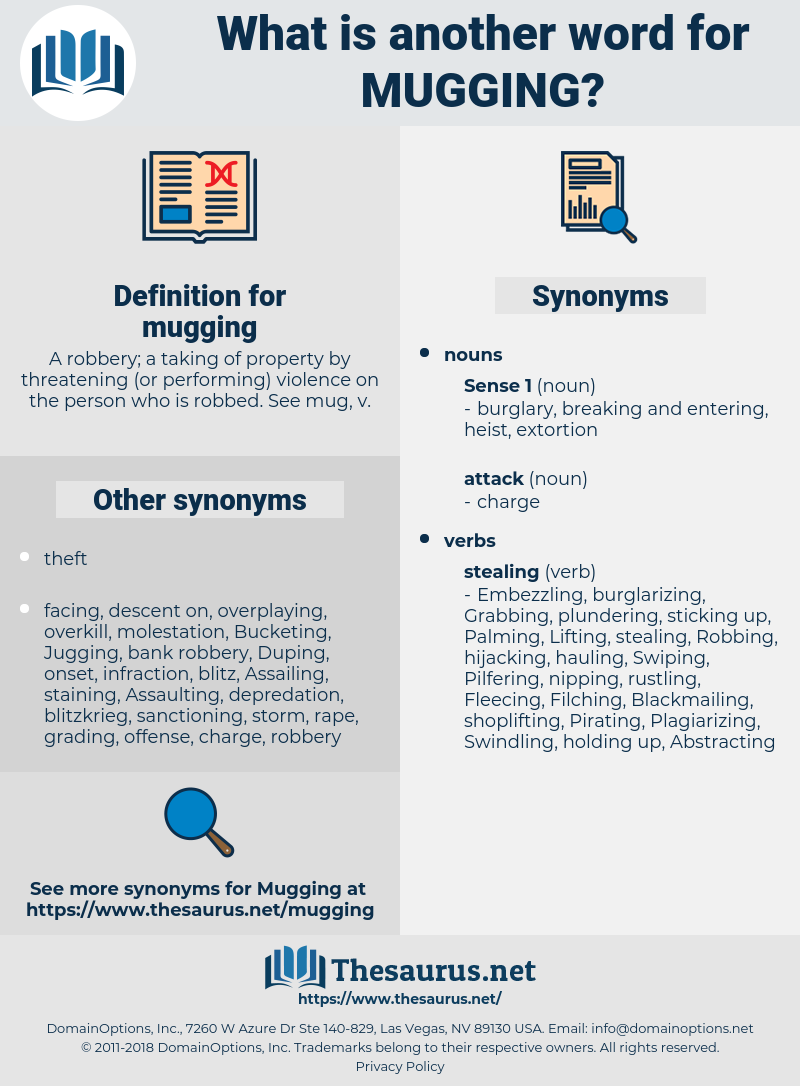 mugging, synonym mugging, another word for mugging, words like mugging, thesaurus mugging