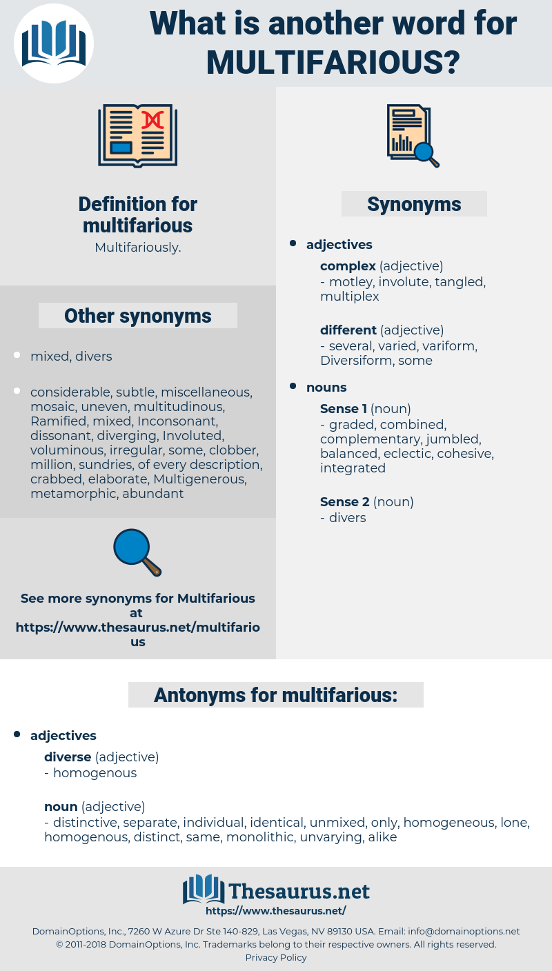 multifarious, synonym multifarious, another word for multifarious, words like multifarious, thesaurus multifarious