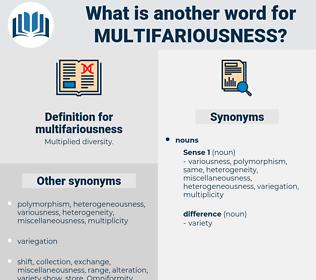 multifariousness, synonym multifariousness, another word for multifariousness, words like multifariousness, thesaurus multifariousness