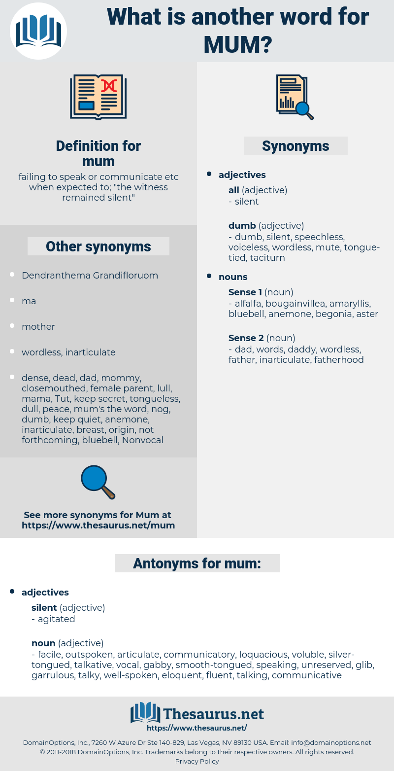 mum, synonym mum, another word for mum, words like mum, thesaurus mum