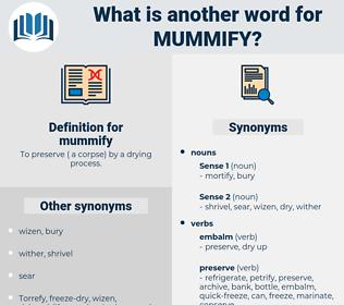 mummify, synonym mummify, another word for mummify, words like mummify, thesaurus mummify