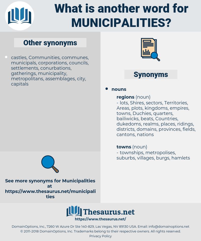 Municipalities, synonym Municipalities, another word for Municipalities, words like Municipalities, thesaurus Municipalities