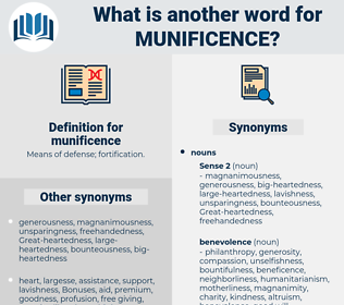 munificence, synonym munificence, another word for munificence, words like munificence, thesaurus munificence