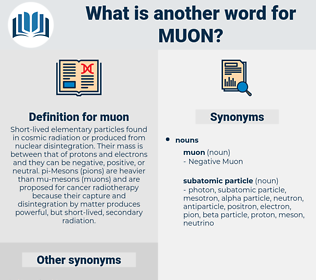 muon, synonym muon, another word for muon, words like muon, thesaurus muon