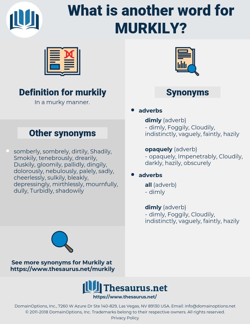 murkily, synonym murkily, another word for murkily, words like murkily, thesaurus murkily