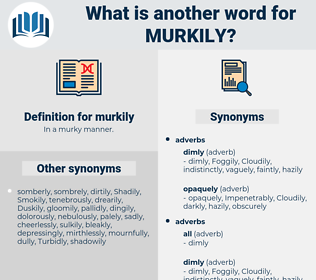 murkily, synonym murkily, another word for murkily, words like murkily, thesaurus murkily
