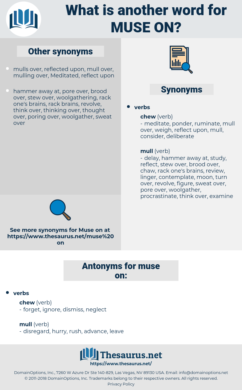 muse on, synonym muse on, another word for muse on, words like muse on, thesaurus muse on