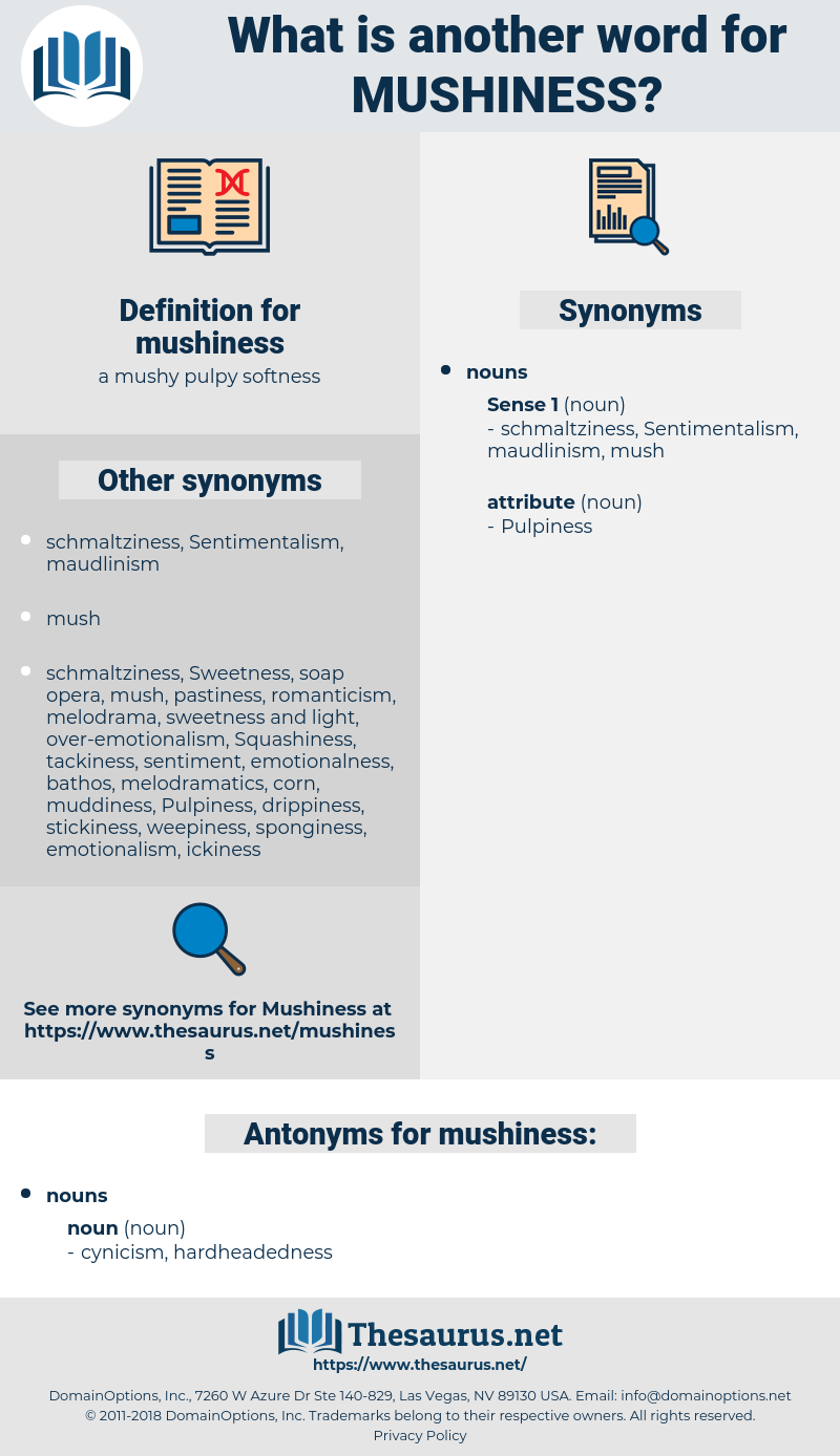 mushiness, synonym mushiness, another word for mushiness, words like mushiness, thesaurus mushiness