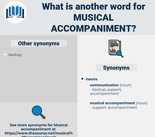 musical accompaniment, synonym musical accompaniment, another word for musical accompaniment, words like musical accompaniment, thesaurus musical accompaniment
