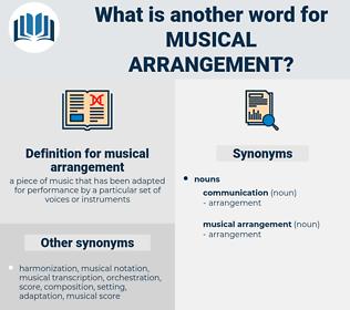 musical arrangement, synonym musical arrangement, another word for musical arrangement, words like musical arrangement, thesaurus musical arrangement