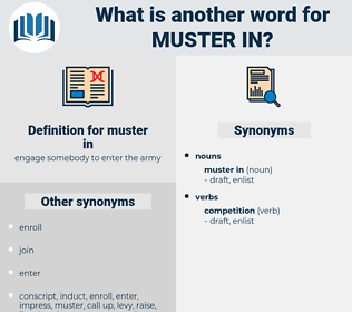 muster in, synonym muster in, another word for muster in, words like muster in, thesaurus muster in