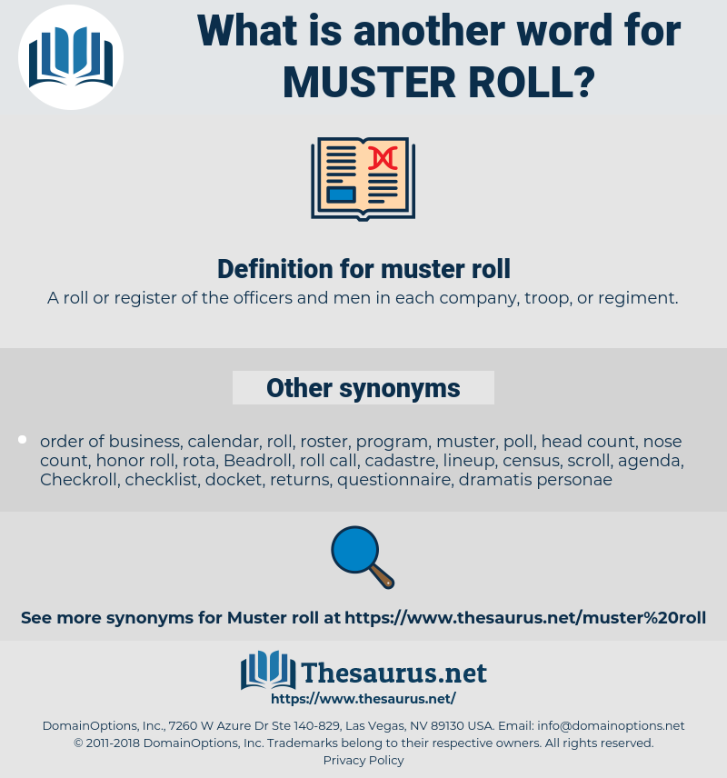 muster roll, synonym muster roll, another word for muster roll, words like muster roll, thesaurus muster roll