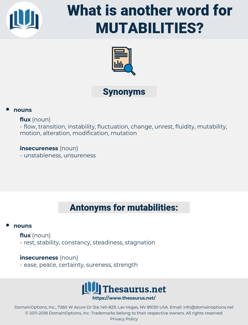 mutabilities, synonym mutabilities, another word for mutabilities, words like mutabilities, thesaurus mutabilities